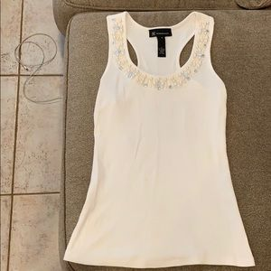INC white tank top bead jewel Small